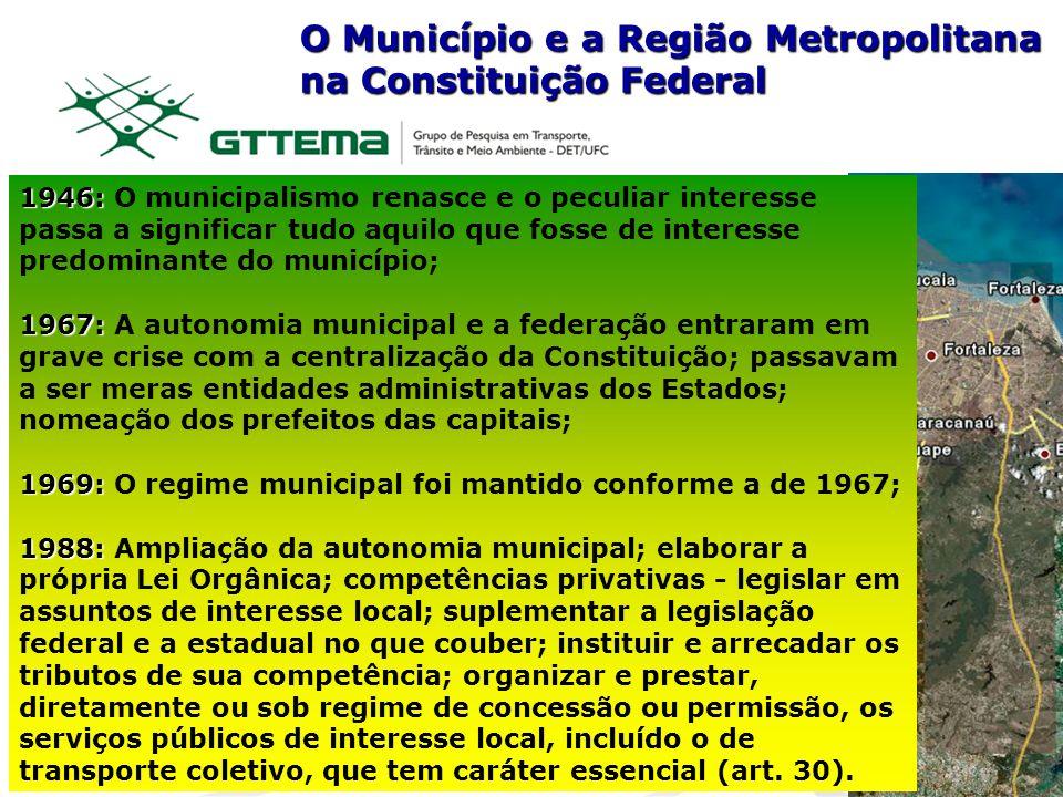 O Município e a Região Metropolitana na Constituição Federal 1946: 1946: O municipalismo renasce e o peculiar interesse passa a significar tudo aquilo
