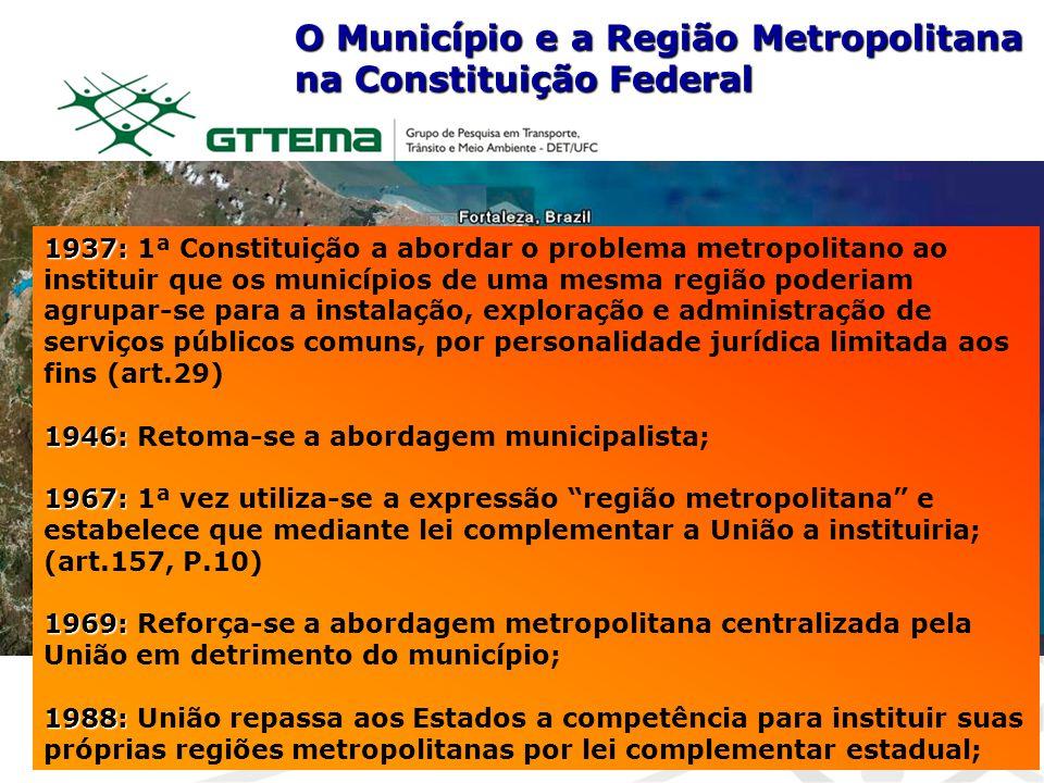1937: 1937: 1ª Constituição a abordar o problema metropolitano ao instituir que os municípios de uma mesma região poderiam agrupar-se para a instalaçã