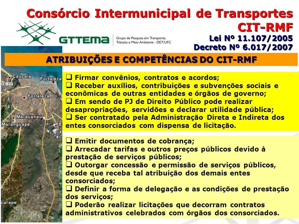 Consórcio Intermunicipal de Transportes CIT-RMF Lei Nº 11.107/2005 Decreto Nº 6.017/2007 ATRIBUIÇÕES E COMPETÊNCIAS DO CIT-RMF Firmar convênios, contr