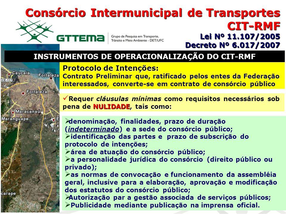 Consórcio Intermunicipal de Transportes CIT-RMF Lei Nº 11.107/2005 Decreto Nº 6.017/2007 INSTRUMENTOS DE OPERACIONALIZAÇÃO DO CIT-RMF Protocolo de Int