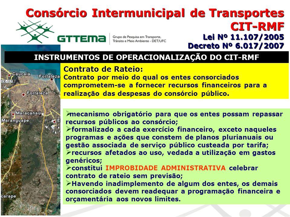 Consórcio Intermunicipal de Transportes CIT-RMF Lei Nº 11.107/2005 Decreto Nº 6.017/2007 INSTRUMENTOS DE OPERACIONALIZAÇÃO DO CIT-RMF Contrato de Rate