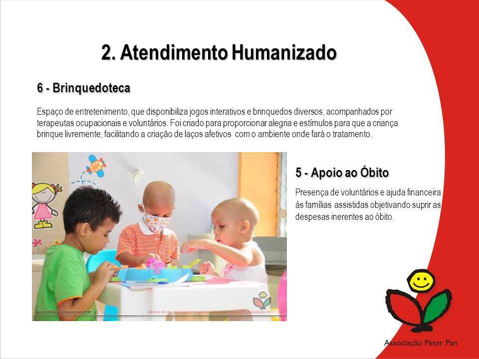 5 - Apoio ao Óbito Presença de voluntários e ajuda financeira às famílias assistidas objetivando suprir as despesas inerentes ao óbito. Espaço de entr