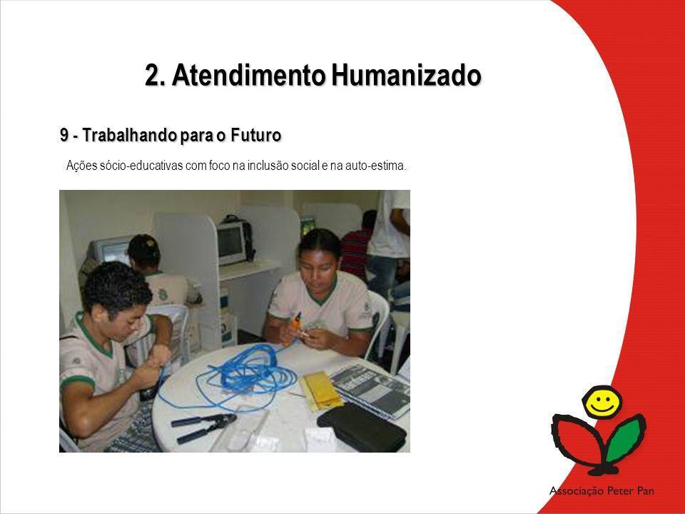 Ações sócio-educativas com foco na inclusão social e na auto-estima. 9 - Trabalhando para o Futuro 2. Atendimento Humanizado