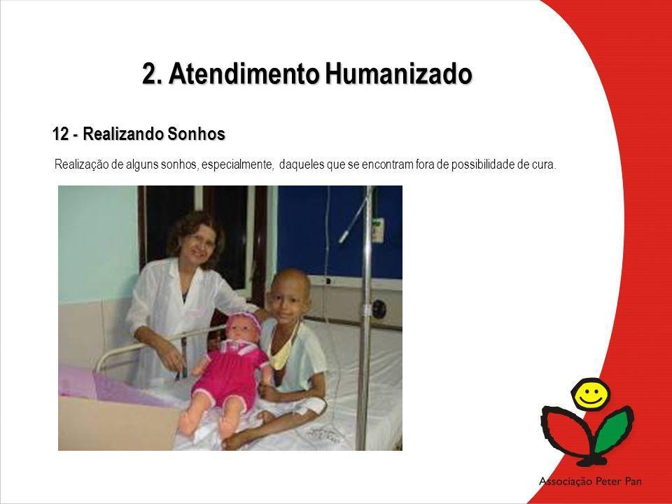 12 - Realizando Sonhos Realização de alguns sonhos, especialmente, daqueles que se encontram fora de possibilidade de cura. 2. Atendimento Humanizado