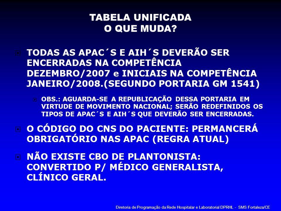 TODAS AS APAC´S E AIH´S DEVERÃO SER ENCERRADAS NA COMPETÊNCIA DEZEMBRO/2007 e INICIAIS NA COMPETÊNCIA JANEIRO/2008.(SEGUNDO PORTARIA GM 1541) OBS.: AG
