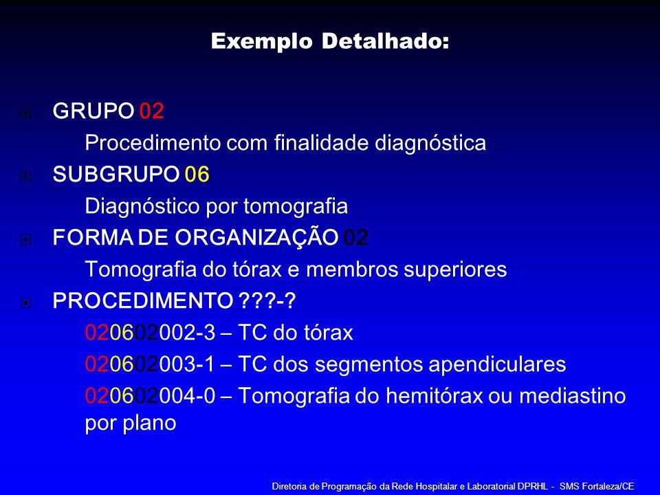 GRUPO 02 Procedimento com finalidade diagnóstica SUBGRUPO 06 Diagnóstico por tomografia FORMA DE ORGANIZAÇÃO 02 Tomografia do tórax e membros superior