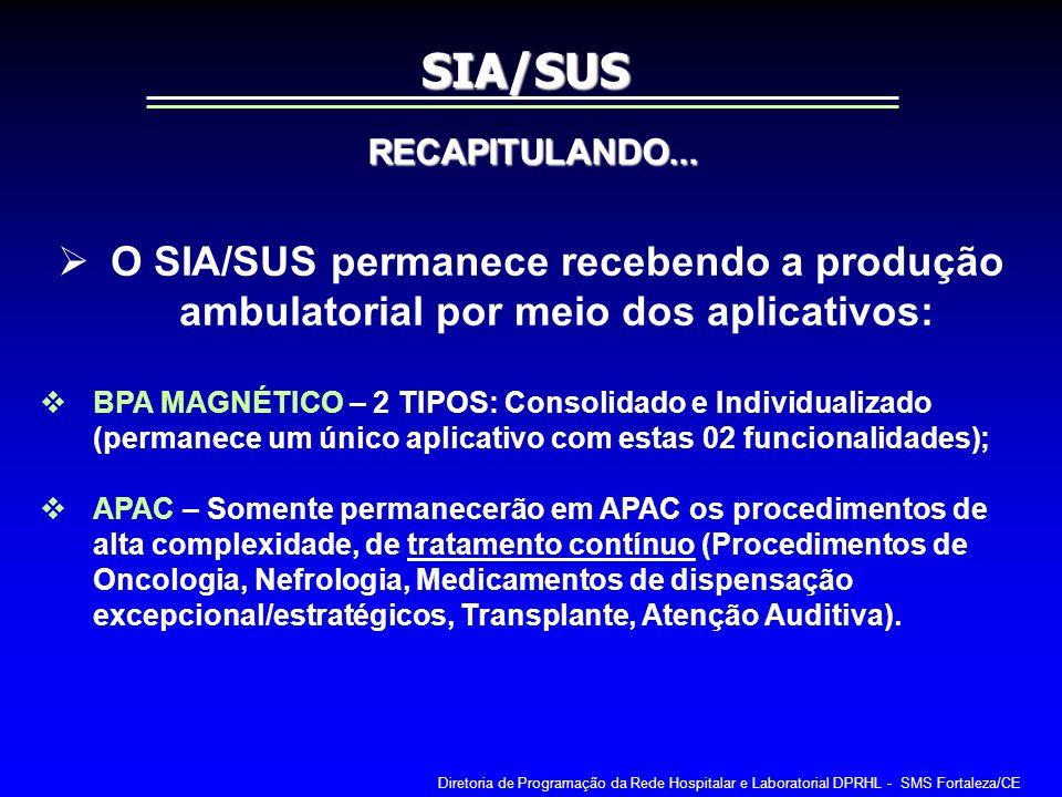 O SIA/SUS permanece recebendo a produção ambulatorial por meio dos aplicativos: BPA MAGNÉTICO – 2 TIPOS: Consolidado e Individualizado (permanece um ú
