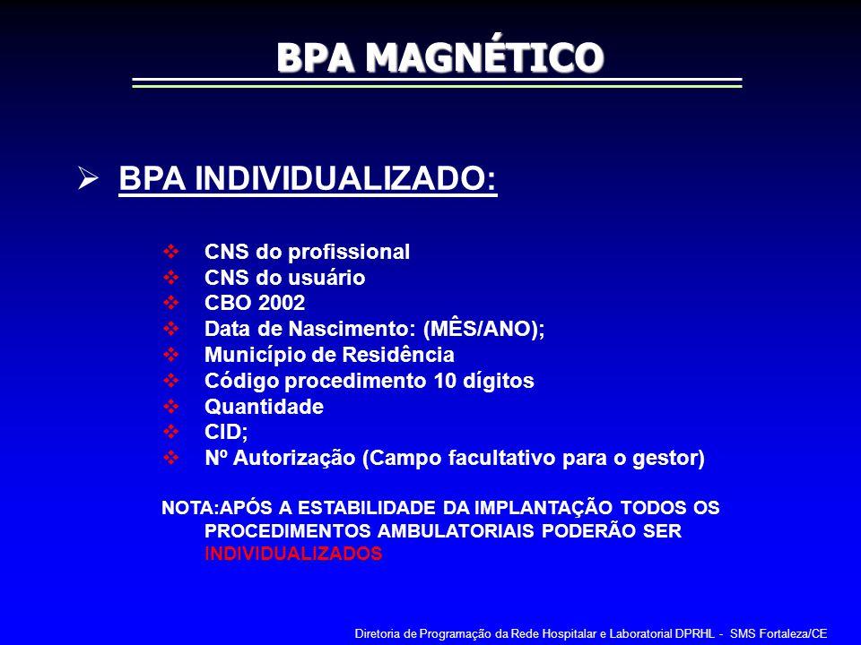 BPA INDIVIDUALIZADO: CNS do profissional CNS do usuário CBO 2002 Data de Nascimento: (MÊS/ANO); Município de Residência Código procedimento 10 dígitos