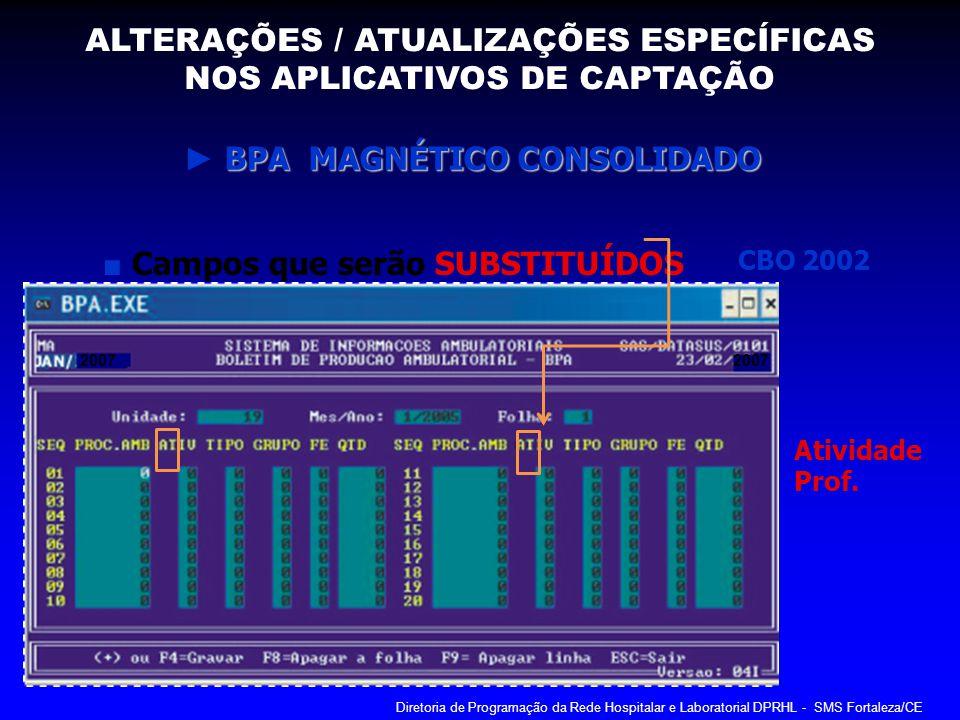 BPA MAGNÉTICO CONSOLIDADO BPA MAGNÉTICO CONSOLIDADO Campos que serão SUBSTITUÍDOS CBO 2002 2007 Atividade Prof. ALTERAÇÕES / ATUALIZAÇÕES ESPECÍFICAS