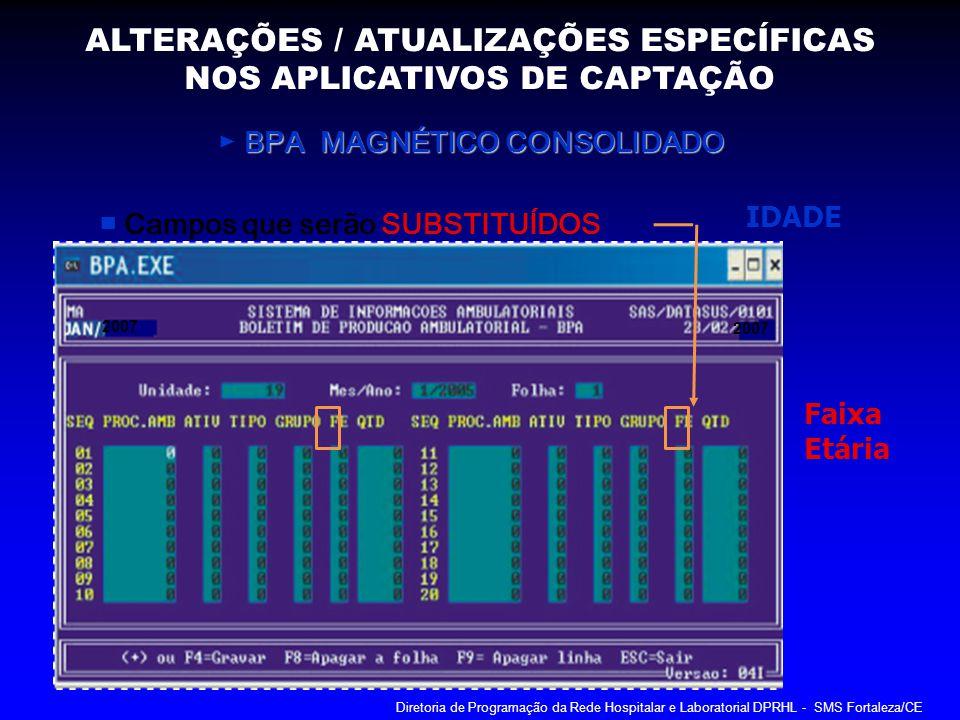 BPA MAGNÉTICO CONSOLIDADO BPA MAGNÉTICO CONSOLIDADO Campos que serão SUBSTITUÍDOS IDADE 2007 Faixa Etária ALTERAÇÕES / ATUALIZAÇÕES ESPECÍFICAS NOS AP