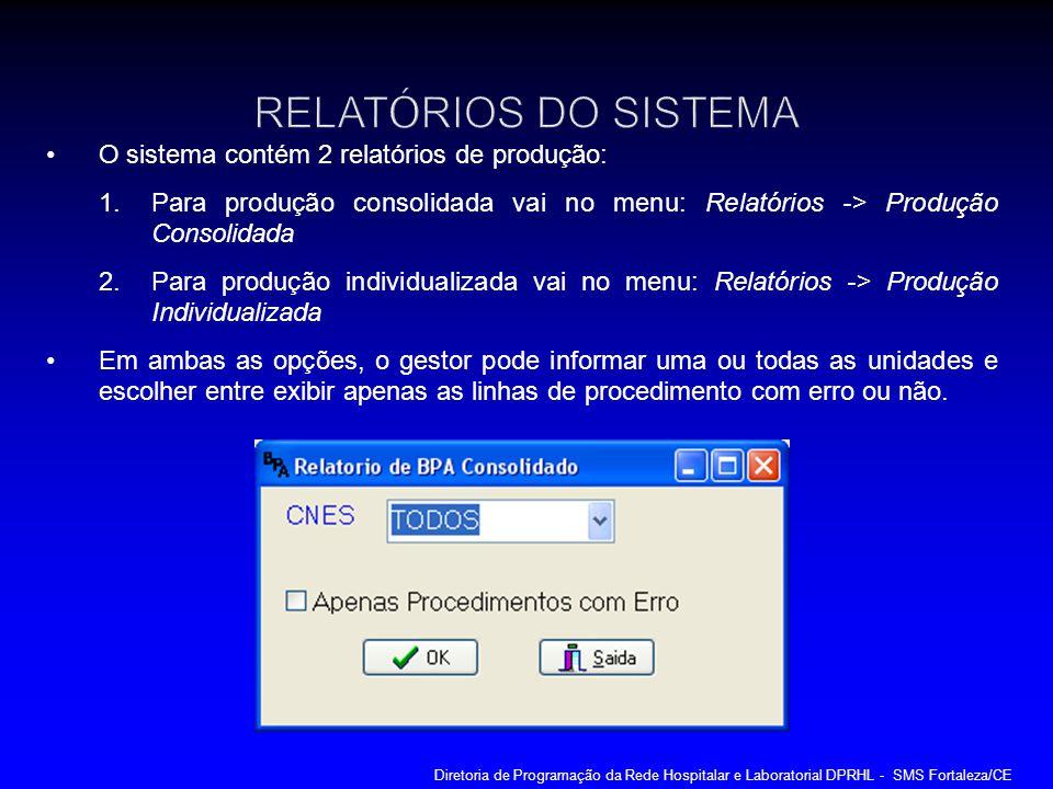 O sistema contém 2 relatórios de produção: 1.Para produção consolidada vai no menu: Relatórios -> Produção Consolidada 2.Para produção individualizada