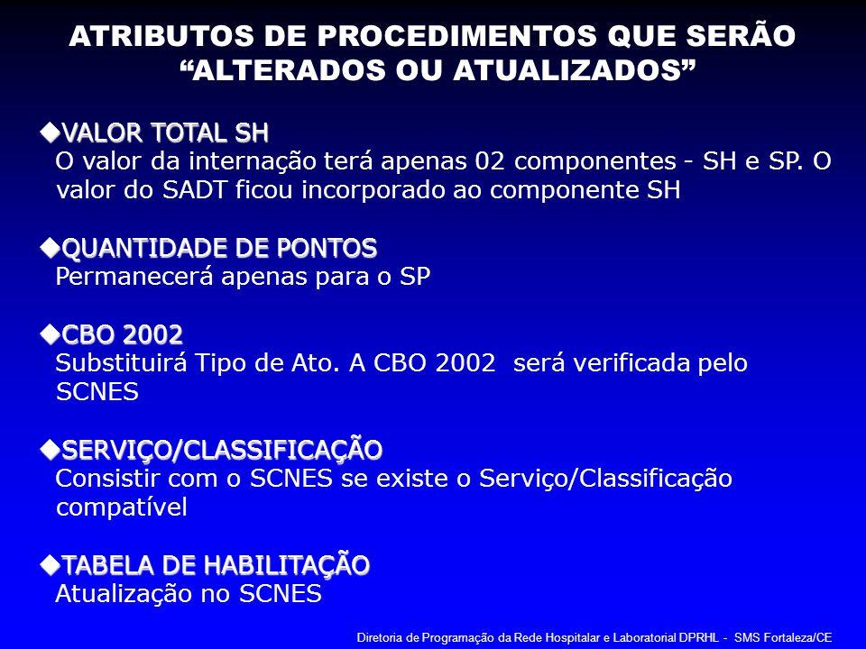 VALOR TOTAL SH VALOR TOTAL SH O valor da internação terá apenas 02 componentes - SH e SP. O valor do SADT ficou incorporado ao componente SH QUANTIDAD