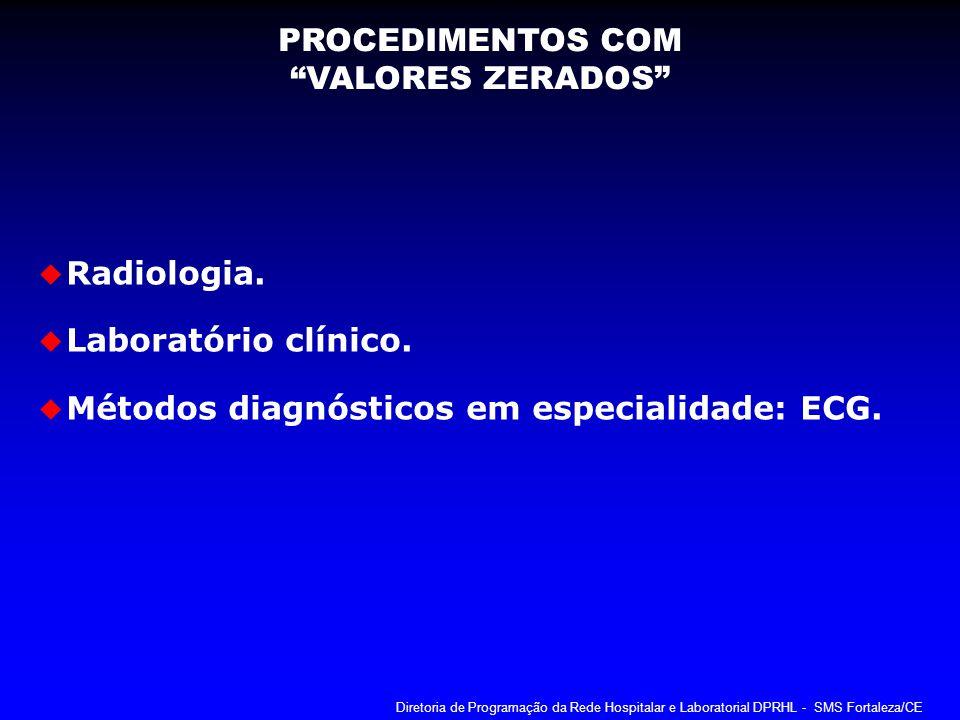 Radiologia. Laboratório clínico. Métodos diagnósticos em especialidade: ECG. PROCEDIMENTOS COM VALORES ZERADOS Diretoria de Programação da Rede Hospit