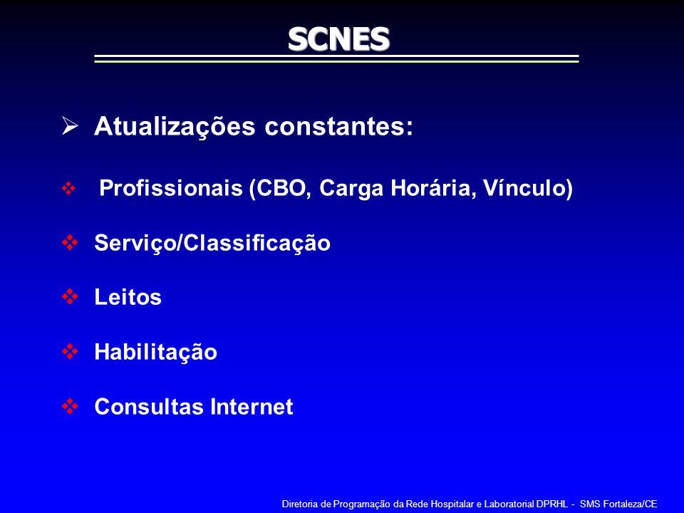 Atualizações constantes: Profissionais (CBO, Carga Horária, Vínculo) Serviço/Classificação Leitos Habilitação Consultas InternetSCNES Diretoria de Pro