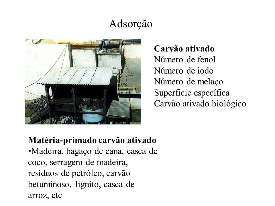 Adsorção Carvão ativado Número de fenol Número de iodo Número de melaço Superfície específica Carvão ativado biológico Matéria-primado carvão ativado