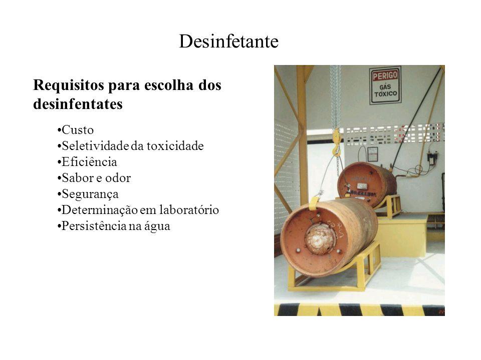 Desinfetante Requisitos para escolha dos desinfentates Custo Seletividade da toxicidade Eficiência Sabor e odor Segurança Determinação em laboratório