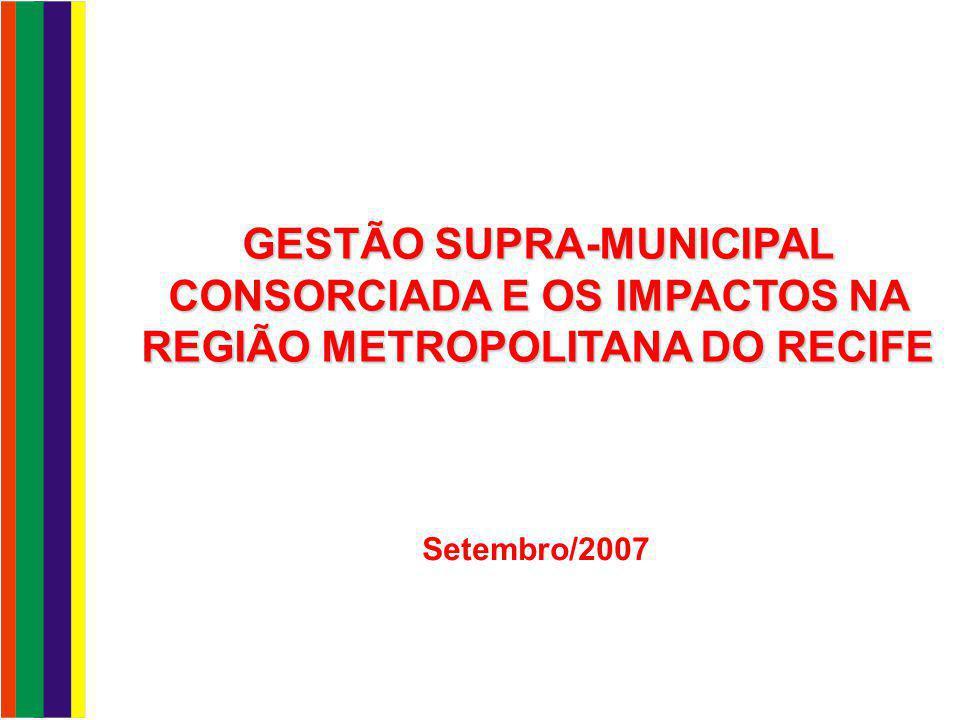 Região Metropolitana do Recife Gestão do transporte Distribuição das viagens Sistema de Transportes Para que o Consórcio.