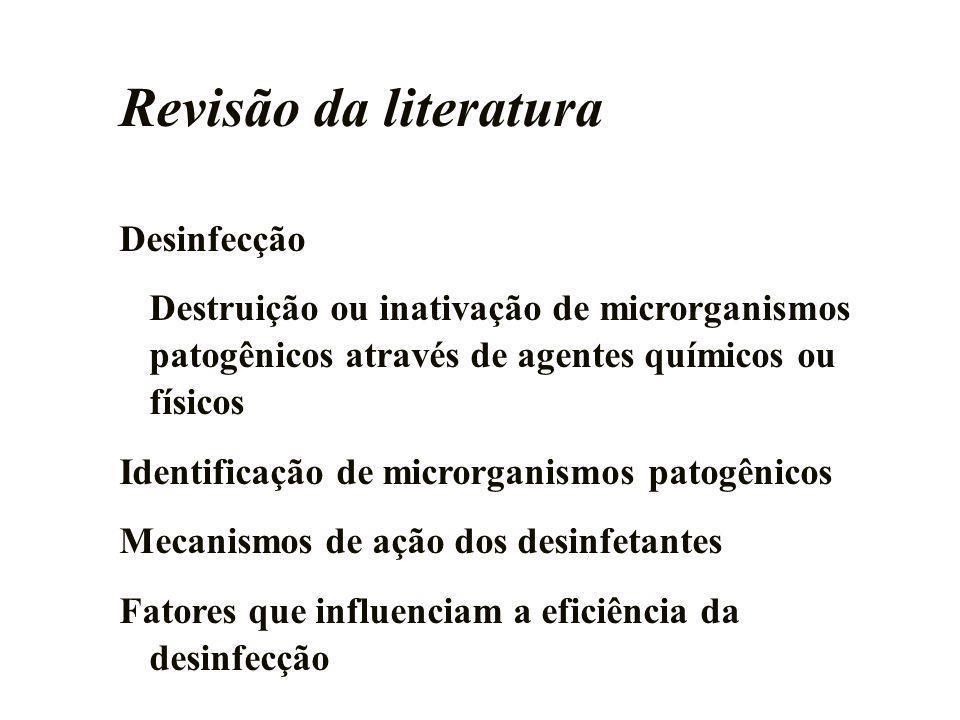 Revisão da literatura Desinfecção Destruição ou inativação de microrganismos patogênicos através de agentes químicos ou físicos Identificação de micro