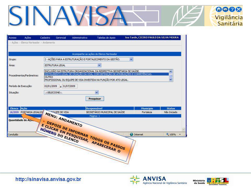 http://sinavisa.anvisa.gov.br MENU: ANDAMENTO NÚMERO DEPOIS DE INFORMAR TODOS OS PASSOS E CLICAR EM PESQUISAR, APARECERAR O NÚMERO DO ELENCO