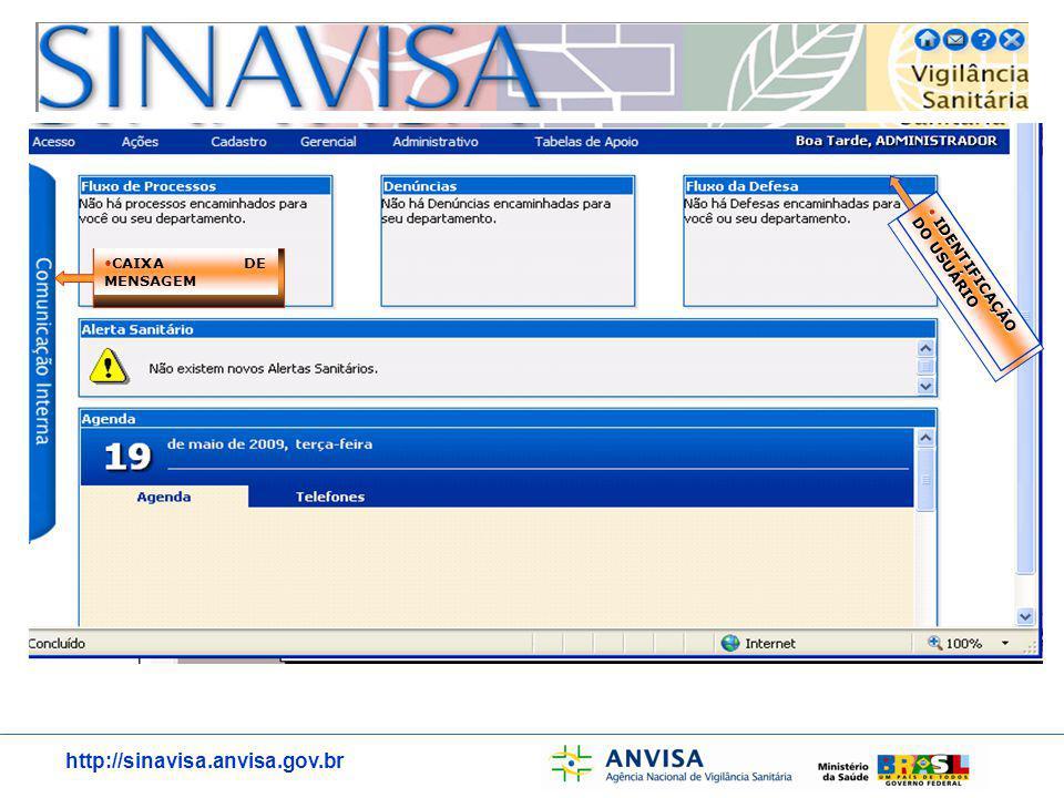 http://sinavisa.anvisa.gov.br CAIXA DE MENSAGEM IDENTIFICAÇÃO DO USUÁRIO IDENTIFICAÇÃO DO USUÁRIO