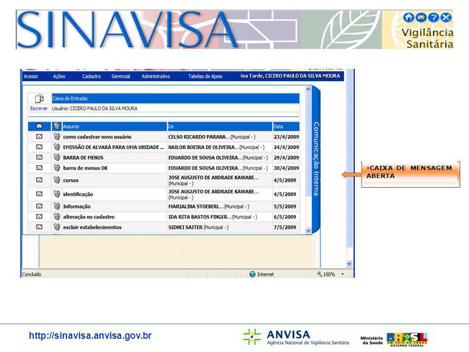 http://sinavisa.anvisa.gov.br MENU DE ACESSO