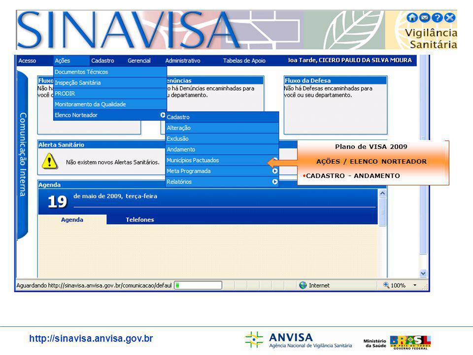 http://sinavisa.anvisa.gov.br Plano de VISA 2009 AÇÕES / ELENCO NORTEADOR CADASTRO - ANDAMENTO
