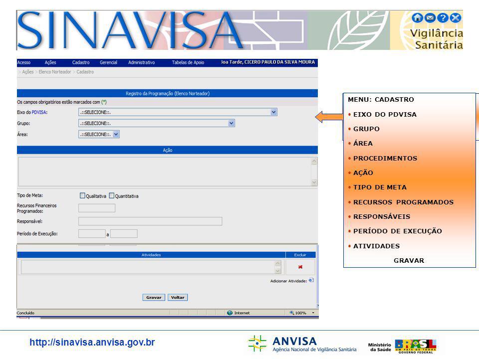http://sinavisa.anvisa.gov.br TELA DE CADASTRO PREENCHIDA