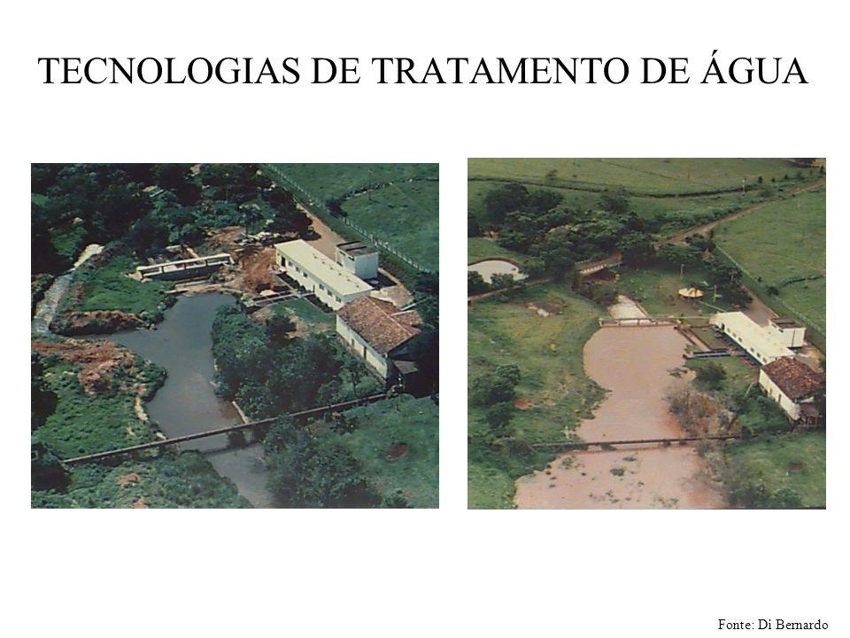TECNOLOGIAS DE TRATAMENTO DE ÁGUA Fonte: Di Bernardo