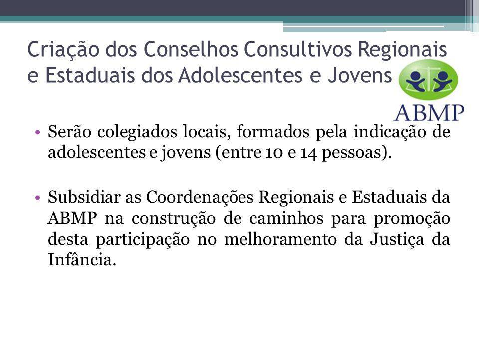 Criação dos Conselhos Consultivos Regionais e Estaduais dos Adolescentes e Jovens Serão colegiados locais, formados pela indicação de adolescentes e jovens (entre 10 e 14 pessoas).