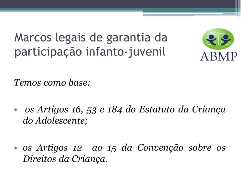 Marcos legais de garantia da participação infanto-juvenil Temos como base: os Artigos 16, 53 e 184 do Estatuto da Criança do Adolescente; os Artigos 12 ao 15 da Convenção sobre os Direitos da Criança.