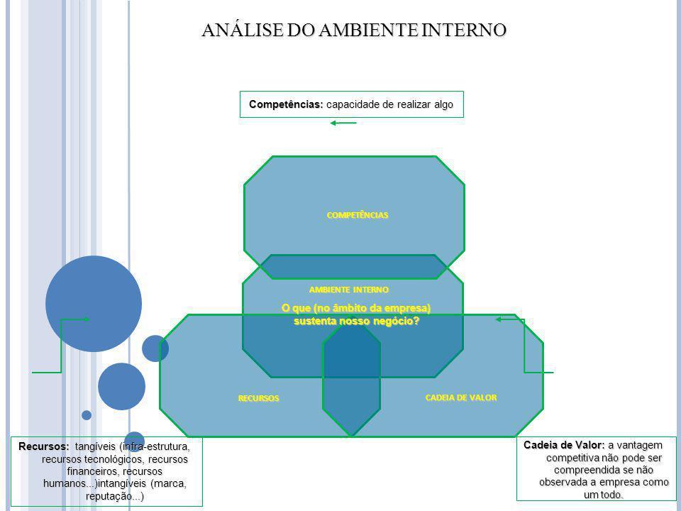 CADEIA DE VALOR RECURSOS COMPETÊNCIAS AMBIENTE INTERNO ANÁLISE DO AMBIENTE INTERNO ANÁLISE DO AMBIENTE INTERNO Cadeia de Valor: a vantagem competitiva