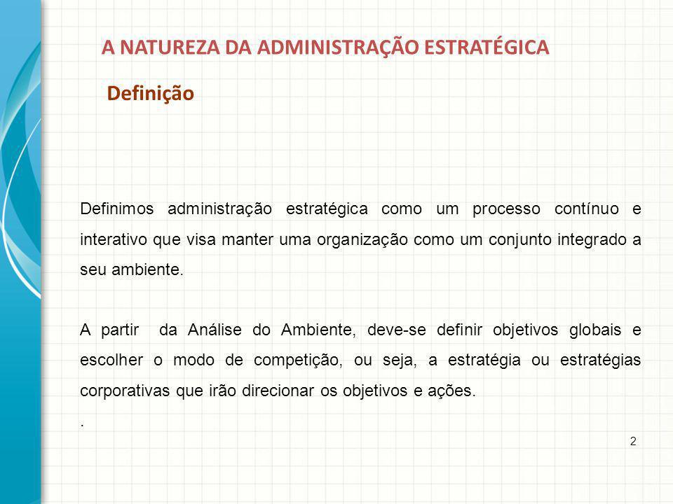 A NATUREZA DA ADMINISTRAÇÃO ESTRATÉGICA Definição 2 Definimos administração estratégica como um processo contínuo e interativo que visa manter uma org