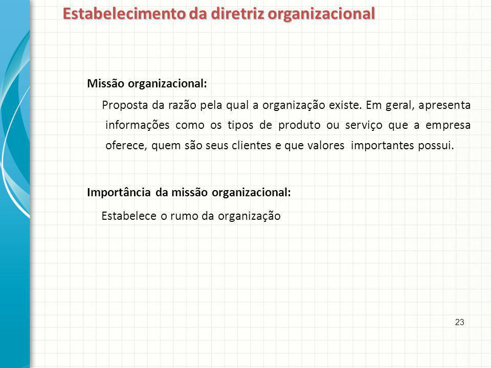Missão organizacional: Proposta da razão pela qual a organização existe. Em geral, apresenta informações como os tipos de produto ou serviço que a emp