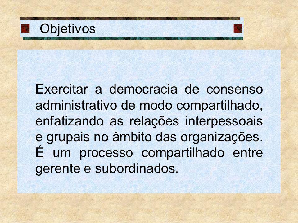 Objetivos....................... Exercitar a democracia de consenso administrativo de modo compartilhado, enfatizando as relações interpessoais e grup