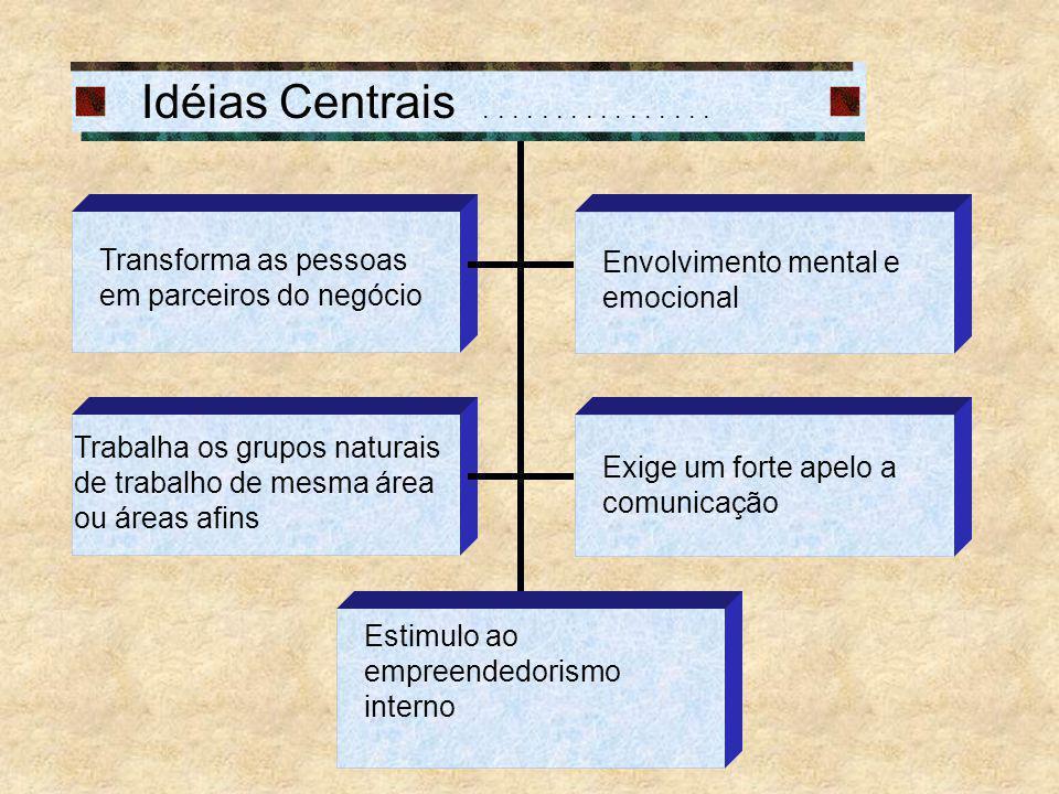 Idéias Centrais................ Transforma as pessoas em parceiros do negócio Exige um forte apelo a comunicação Envolvimento mental e emocional Traba