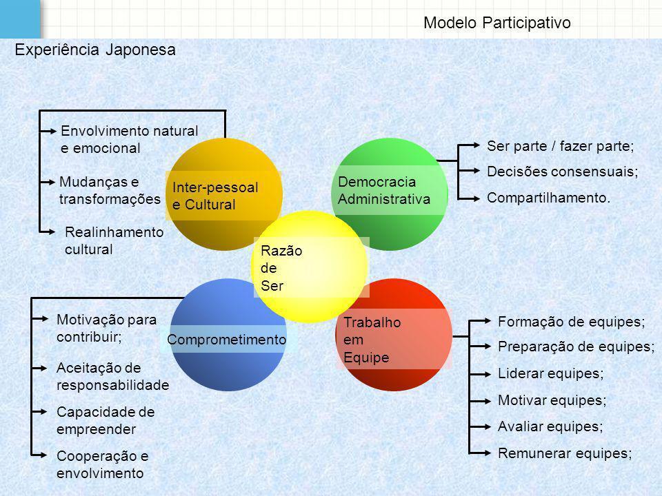 Modelo Participativo Formação de equipes; Preparação de equipes; Liderar equipes; Motivar equipes; Avaliar equipes; Remunerar equipes; Motivação para