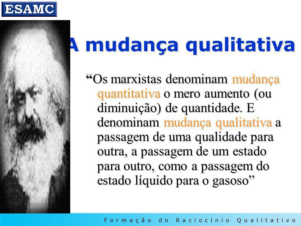 A mudança qualitativa Os marxistas denominam mudança quantitativa o mero aumento (ou diminuição) de quantidade. E denominam mudança qualitativa a pass