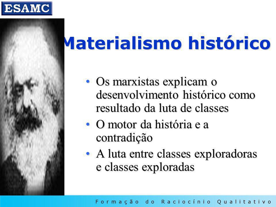 Materialismo histórico Os marxistas explicam o desenvolvimento histórico como resultado da luta de classesOs marxistas explicam o desenvolvimento hist