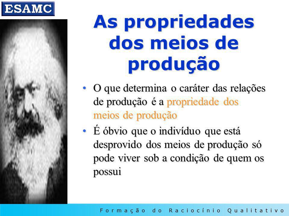 As propriedades dos meios de produção O que determina o caráter das relações de produção é a propriedade dos meios de produçãoO que determina o caráte
