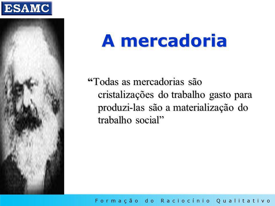 A mercadoria Todas as mercadorias são cristalizações do trabalho gasto para produzi-las são a materialização do trabalho socialTodas as mercadorias são cristalizações do trabalho gasto para produzi-las são a materialização do trabalho social