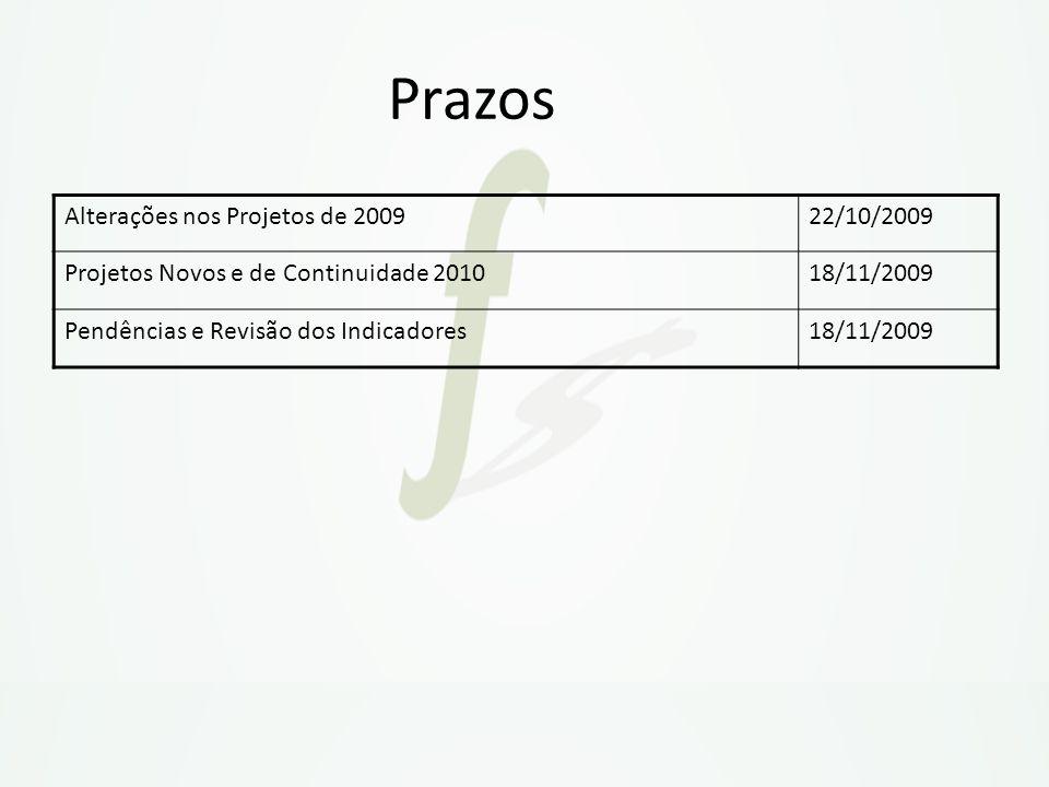 Prazos Alterações nos Projetos de 200922/10/2009 Projetos Novos e de Continuidade 201018/11/2009 Pendências e Revisão dos Indicadores18/11/2009