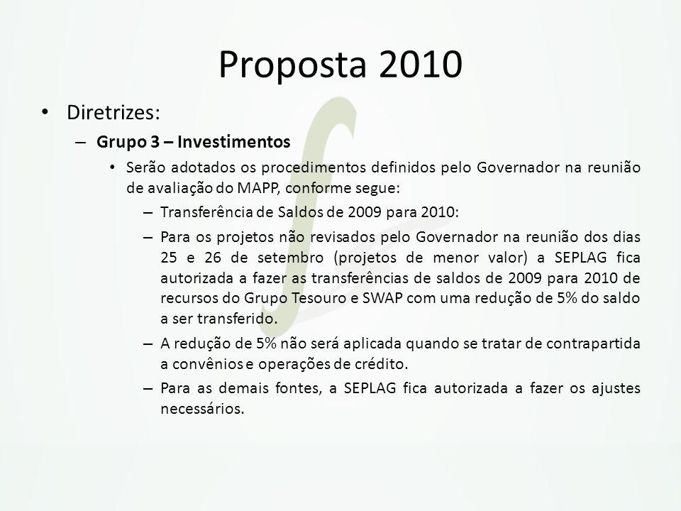 Proposta 2010 Diretrizes: – Grupo 3 – Investimentos Serão adotados os procedimentos definidos pelo Governador na reunião de avaliação do MAPP, conform