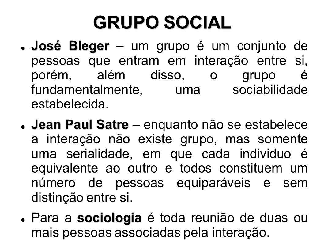 GRUPO SOCIAL José Bleger José Bleger – um grupo é um conjunto de pessoas que entram em interação entre si, porém, além disso, o grupo é fundamentalmente, uma sociabilidade estabelecida.