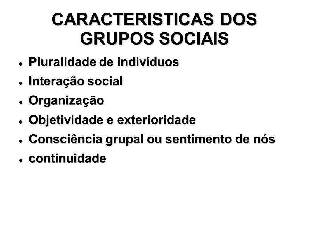 TIPOS DE GRUPOS SOCIAIS Grupos Primários Grupos Primários – predominam os contatos primários.