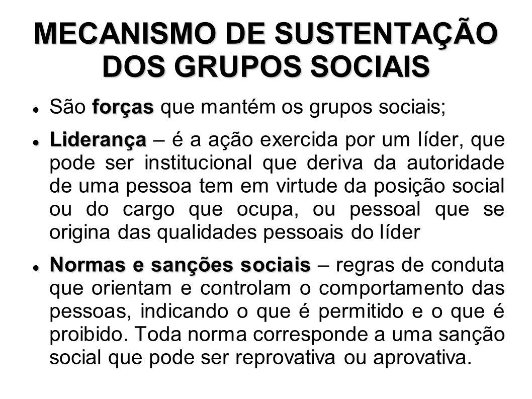 MECANISMO DE SUSTENTAÇÃO DOS GRUPOS SOCIAIS Símbolos Símbolos – é algo cujo valor ou significado é atribuído pelas pessoas que o utilizam.