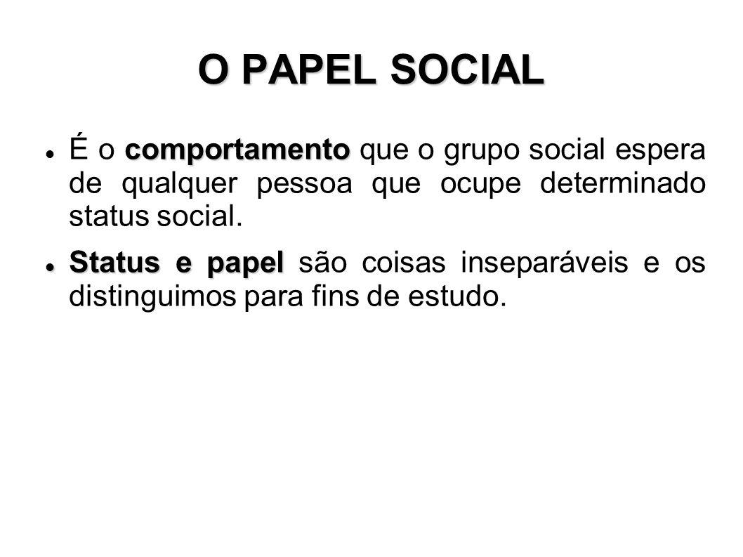O PAPEL SOCIAL comportamento É o comportamento que o grupo social espera de qualquer pessoa que ocupe determinado status social.