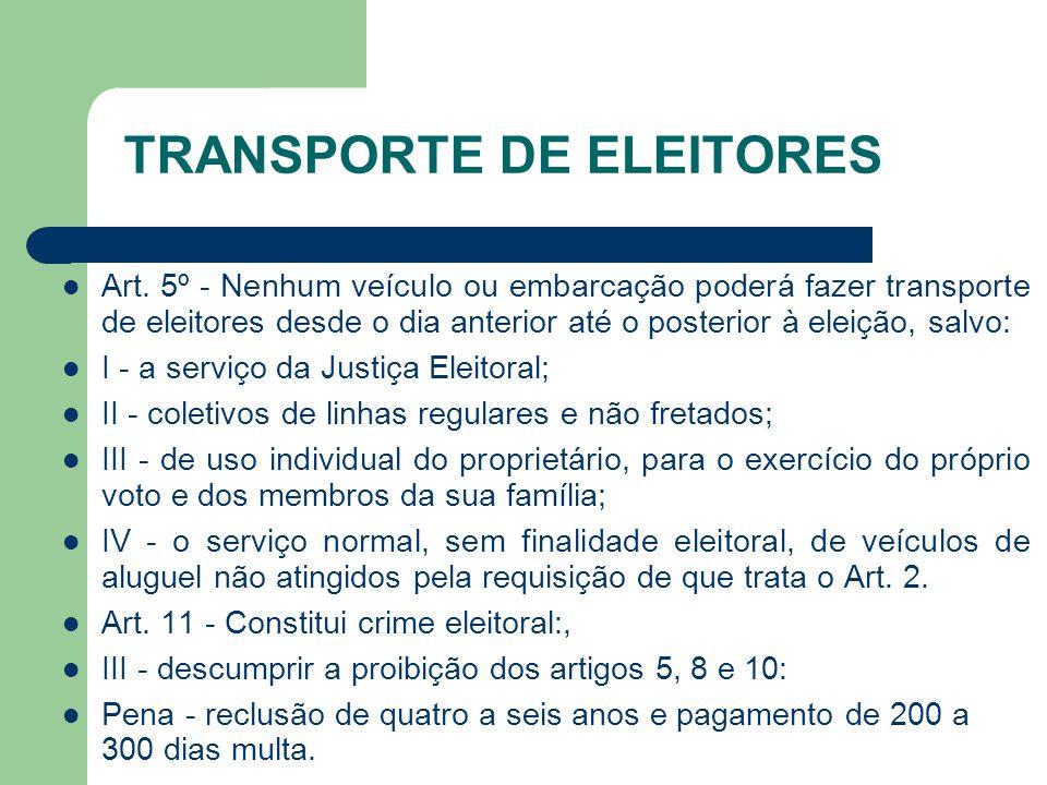 TRANSPORTE DE ELEITORES Art. 5º - Nenhum veículo ou embarcação poderá fazer transporte de eleitores desde o dia anterior até o posterior à eleição, sa