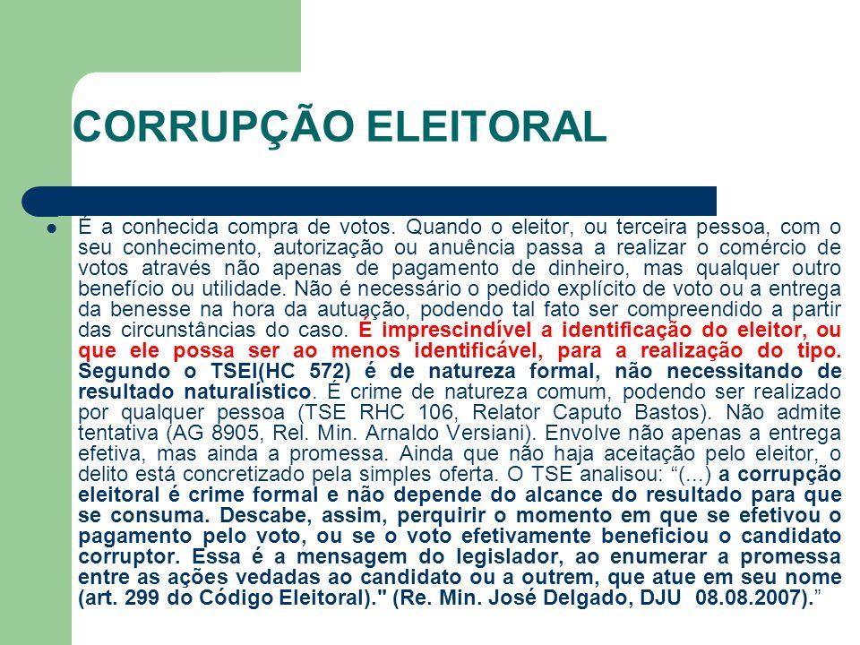 CORRUPÇÃO ELEITORAL É a conhecida compra de votos. Quando o eleitor, ou terceira pessoa, com o seu conhecimento, autorização ou anuência passa a reali