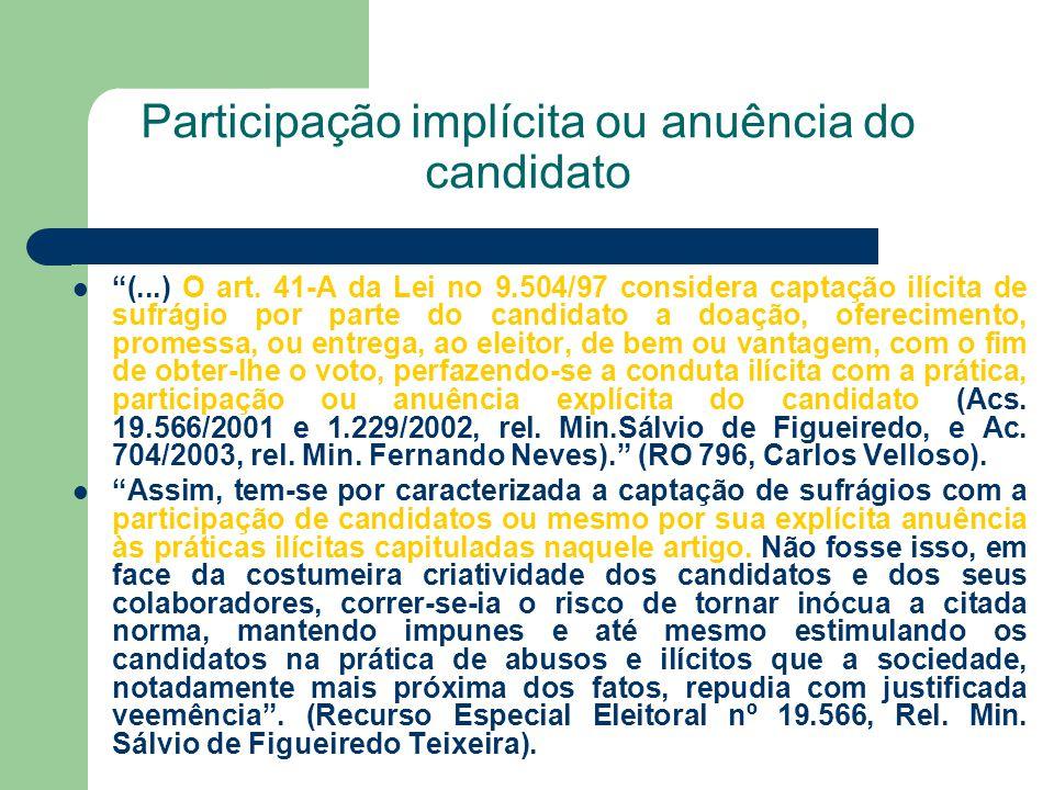 Participação implícita ou anuência do candidato (...) O art. 41-A da Lei no 9.504/97 considera captação ilícita de sufrágio por parte do candidato a d