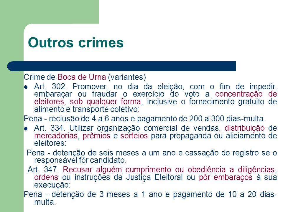 Outros crimes Crime de Boca de Urna (variantes) Art. 302. Promover, no dia da eleição, com o fim de impedir, embaraçar ou fraudar o exercício do voto